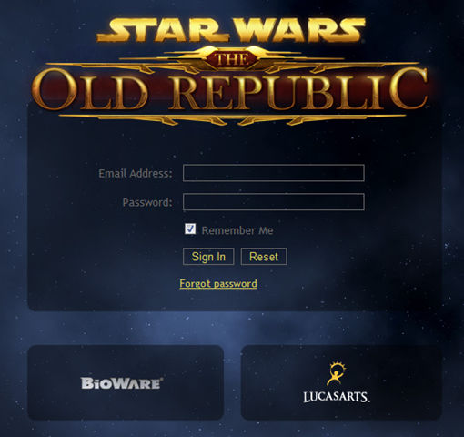 "We believe the above is the launch page for Start Wars – The Old Republic!   Then you get this one after you are logged in..   ""After being told that these weren't the droids I was looking for, I was told that this isn't the launch page I […]"